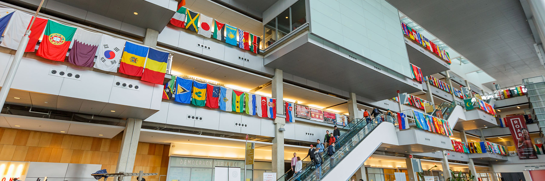 The flags of every country represented at IUPUI hanging in the Campus Center.